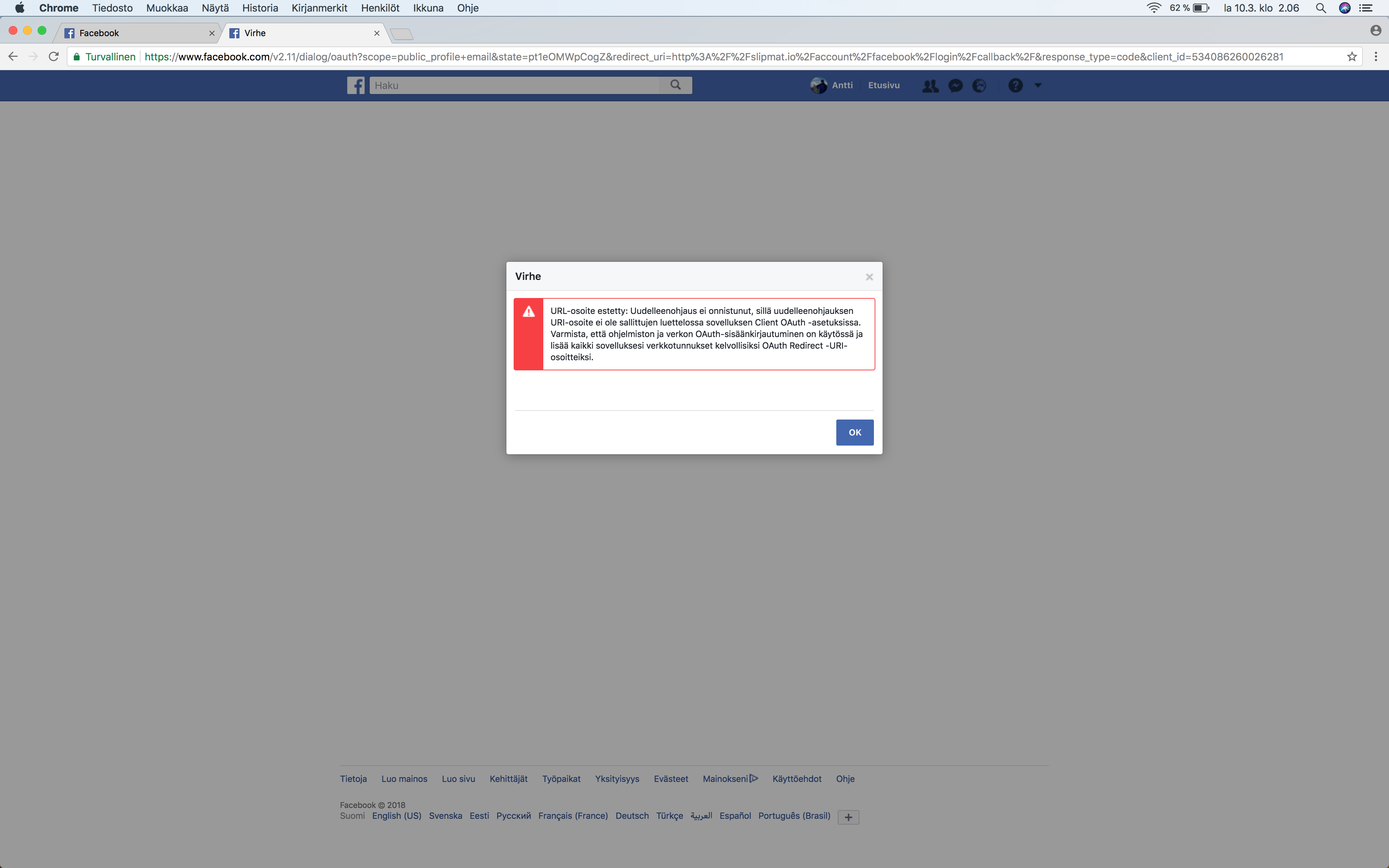 Problem logging in with Google Chrome with Facebook - Issues